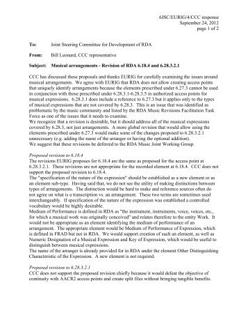 6JSC/EURIG/4/CCC response September 24, 2012 page 1 of 2 To ...