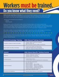 Key training requirements chart