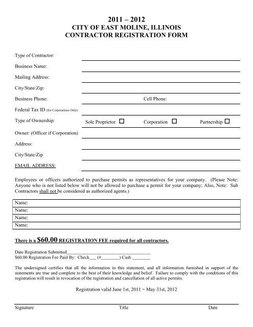 2011-2012 Contractor Registration Packet - City of East Moline