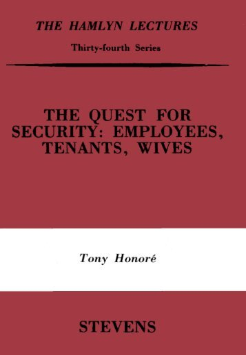 The Quest for Security: Employees, Tenants, Wives - College of ...