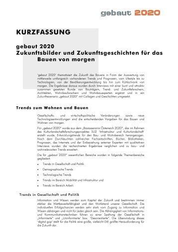 Kurzfassung deutsch (1 MB) - InfoService wohnen bauen