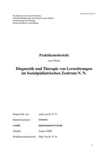 Diagnostik und Therapie von Lernstörungen im Sozialpädiatrischen ...