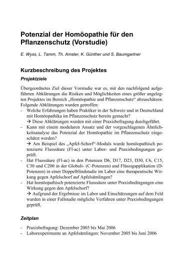 Potenzial der Homöopathie für den Pflanzenschutz (Vorstudie)