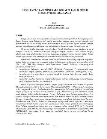 Hasil Eksplorasi Logam di Jalur Busur Magmatik Sunda-Banda ...