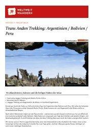 Argentinien / Bolivien / Peru: Trans Anden Trekking - Weltweitwandern