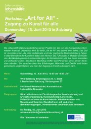 "Workshop: ""Art for All"" - - Lebenshilfe Salzburg"
