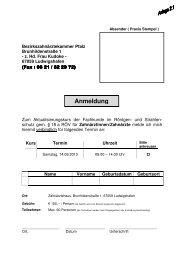 Aktualisierungskurse gemäß §18a RöV für Zahnmedizinische ...