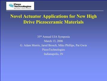 Novel Actuator Applications for New High Drive Piezoceramic ...
