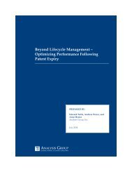 Beyond Lifecycle Management – Optimizing ... - Analysis Group