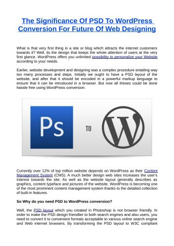 The Significance Of PSD To WordPress Conversion For Future Of Web Designing