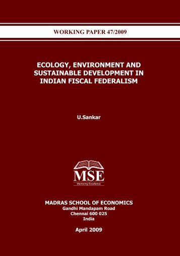 ECOLOGY, ENVIRONMENT AND SUSTAINABLE DEVELOPMENT ...