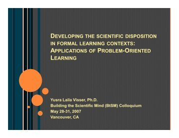 developing the scientific disposition in formal learning contexts