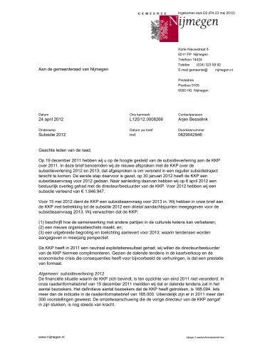 Brief d.d. 24 april 2012 met bijlage - Gemeente Nijmegen