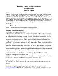 Minnesota Omaha System Users Group Meeting Minutes