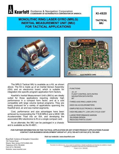 KI-4920 Tactical IMU Datasheet - Astronautics Corporation of