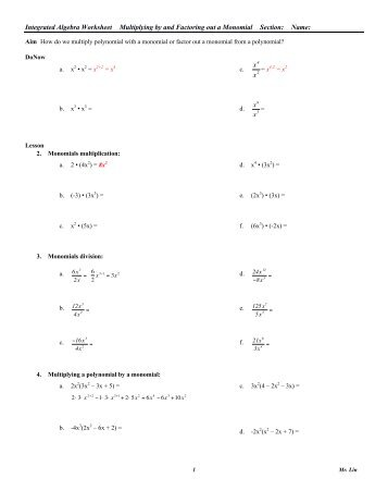 Algebra Worksheet 02_Factoring Monomials