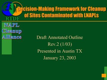 Decision-Making Framework for Cleanup of Sites Contaminated with ...