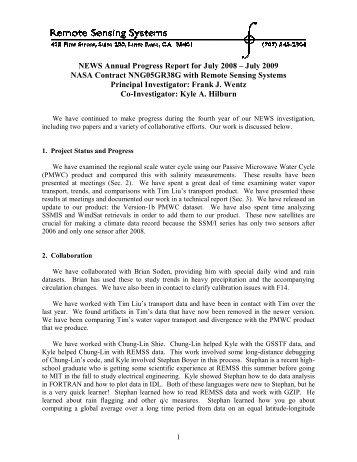 Wentz - NEWS (The NASA Energy and Water cycle Study)