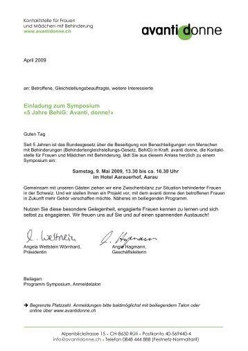 Einladung zum Symposium «5 Jahre BehiG: Avanti, donne!»