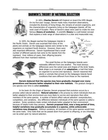 darwin and natural selection On november 24 1859, charles darwin published compelling evidence for the theory of evolution in his controversial book, 'on the origin of species by means of natural selection' to help introduce.