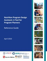 Nutrition Program Design Assistant: A Tool for ... - CORE Group