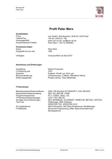 Profil Peter Marx - icon GmbH