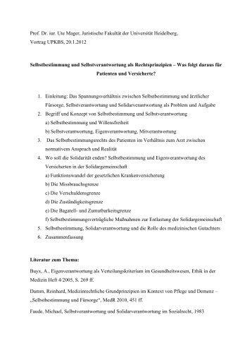 Prof. Dr. iur. Ute Mager, Juristische Fakultät der Universität ...