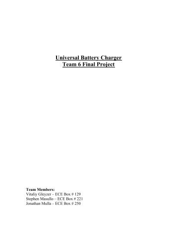 Universal Battery Charger Team 6 Final Project - Design that Matters