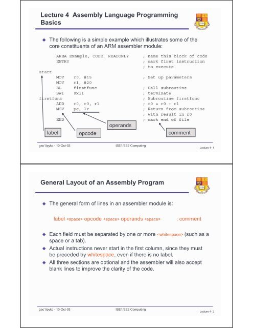 Lecture 4 Assembly Language Programming Basics General