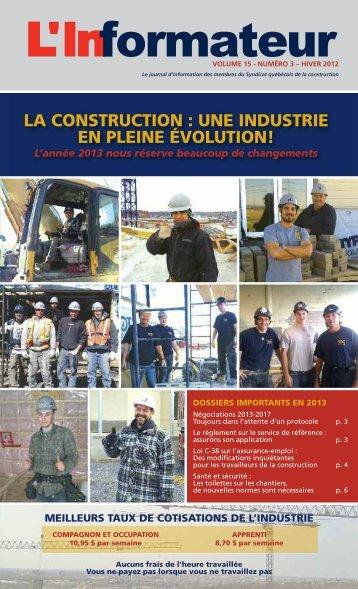 la construction : une industrie en pleine évolution! - Sqc.ca