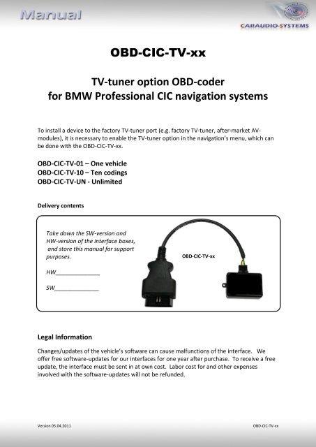 OBD-CIC-TV-xx TV-tuner option OBD-coder for BMW Professional