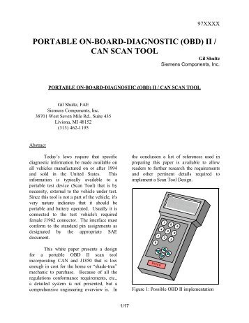 PORTABLE ON-BOARD-DIAGNOSTIC (OBD) II / CAN SCAN TOOL