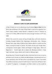 press release renault cape to cape adventure - Tanzania Tourist Board