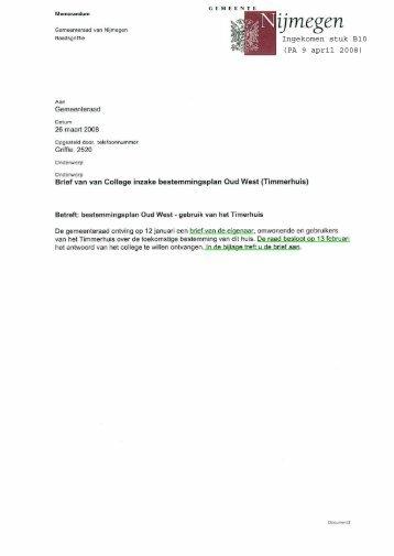 Brief d.d. 25 maart 2008 met bijlagen - Gemeente Nijmegen