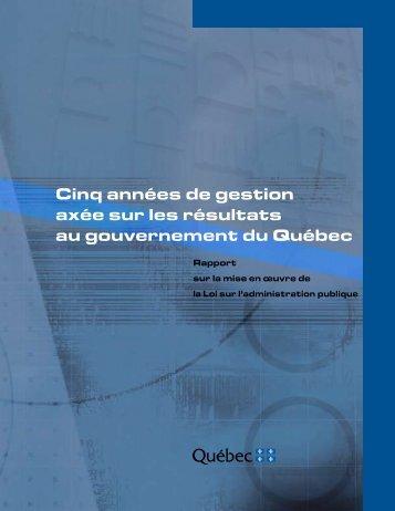 Rapport sur la mise en œuvre de la Loi sur l'administration publique