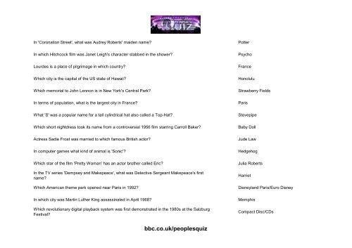 People S Quiz Questions Batch 10 Bbc