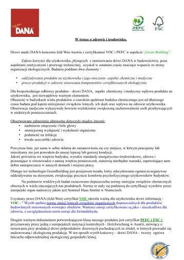 DANA z Certyfikatem FSC i VOC - Drzwi DANA