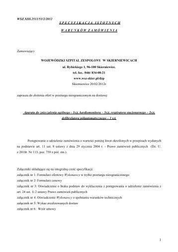 WSZ.XIII.2511/53/2/2012 S P E C Y F I K A C J A   I S T O T N Y C H ...