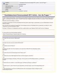 Kandidatencheck Kommunalwahl 2011 Achim - hier die Fragen