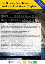 Der Brenner Basis Tunnel - Konkretes Projekt oder Trugbild?