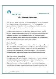 Dairy & YOU Dairy & Lactose intolerance - FIL-IDF - Nutrition