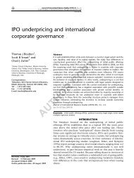IPO Underpricing and International Corporate Governance