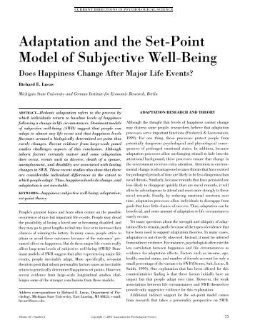 Adaptation and the Set-Point Model of Subjective Well-Being