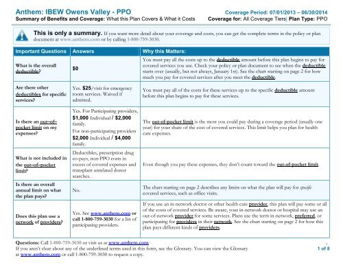 SBC - Owens Valley PPO L18 Anthem Blue Cross - My Benefit