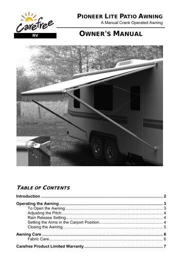 Pioneer Lite Owners Manual