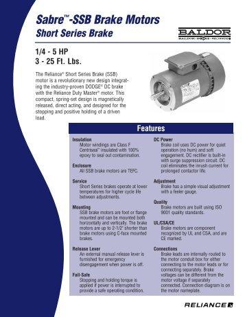 Sabre™-SSB Brake Motors - Reliance Electric
