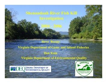 Shenandoah River Fish Kills - Chesapeake Bay Commission