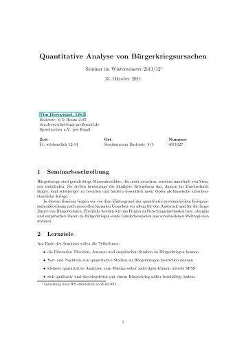 Quantitative Analyse von Bürgerkriegsursachen
