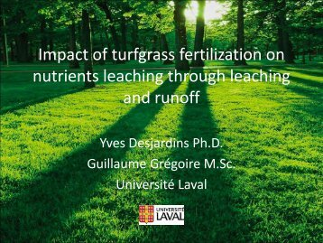 Impact of turfgrass fertilization on nutrients leaching through ...