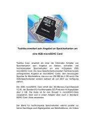 Toshiba erweitert sein Angebot an Speicherkarten um eine 4GB ...